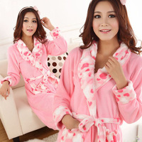 2013 New Arrival Fashion Autumn  Winter Core Sweet  Love Coral Fleece Women's Robe Bathrobes Lady Loungewear Free Shipping Z208