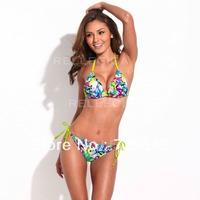 Doodle Print Triangle Top Bikini Set with Neon Yellow Ties and Removable Padding