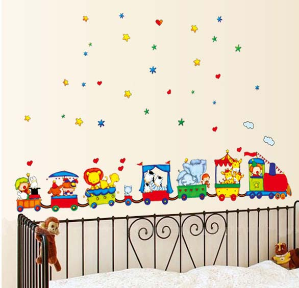 DIY Removable Art Vinyl Wall Stickers Decor Mural Decal Children room Animal Circus Train TC990(China (Mainland))