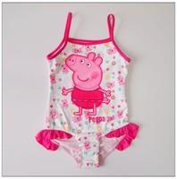 hot! 5pcs/lot Kids Peppa pig swimwear for  Girls one piece Character Swimsuit beachwear free shippng