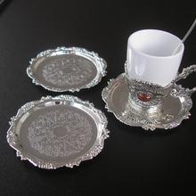 Dia 4″ Zinc alloy metal coffe cup mat  coaster placemat 1055