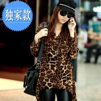 Hot Selling Casual Korean Women's Fashion Nice Leopard Half Sleeve Long Shirt Chiffon Blouse Size M-XL Dropshipping