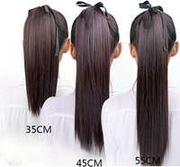 Free shipping-super long 70cm straight ponytails synthetic hair extension 4colors