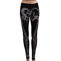 New Women's Front Piece Full Skeleton Print Punk Style Black High Elastic Leggings WF-51335
