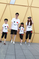 2013 summer love smiley set tendrils family fashion clothes for mother and daughter clothes for father and son ploughboys set