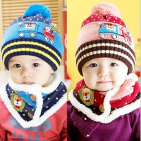 Winter child hat plush christmas hat baby hat cap child hat muffler scarf set cap