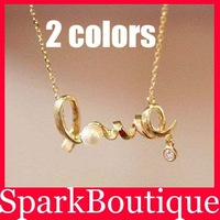 Min Order $10 (Mix Order) Hot Simple Imitation Pearl Necklace Pearl Love Necklace Drop Necklace Free Shipping