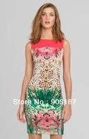 Runway Fashion Wholesale & Retail Parisian-style Back zipper wild leopard round neck sleeveless dress KC212 Free shipping