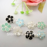 Good Quanlity Fashion 3D Pearl Flower Charm Connector For Jewelry Making Silver Plated Four Color 32pcs(buyer can choose color)