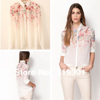 New Lapel Collar Button Flowers Chiffon Long Sleeve Women Shirt Tops Blouses Free Shipping