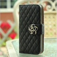 Luxury Flip Wallet Card Holder Bling Diamond Rose Magnetic Stand Leather Cases Cover For Apple Iphone 4 4G 4S 5 5G 5S Bags 0146