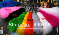 Free Shipping, short solid color multicolors mixed 100% Real Fox Fur rehinstone Tail ring  Keychain, Bag pendants Accessory
