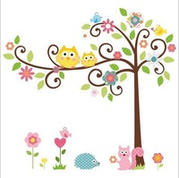 High quality!120*110cm Cute Owl Tree Peel & Stick Wall Decal Kindergarten DIY Art Vinyl Removable Wall Stickers Decor Mural