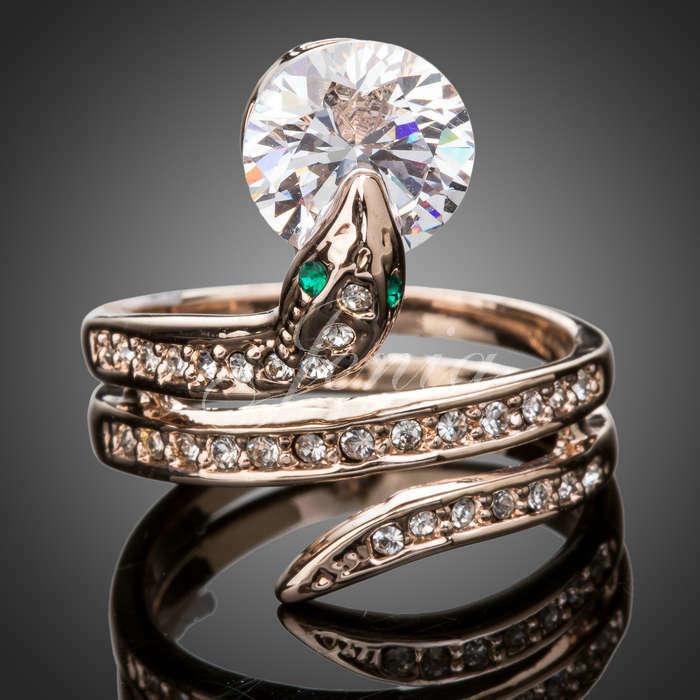 Manufacturer Supply Popular 18k Gold Plated Rhinestone Jewelry Snake Ring (PR006)(China (Mainland))