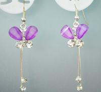 Fashion 2014new purple butterfly shaped inlay CZ jewelry stud earring plated silver fashion Korean women sweet cute earring gift