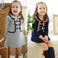 Free shipping girls long-sleeve dress preppy style faux two piece one-piece dress