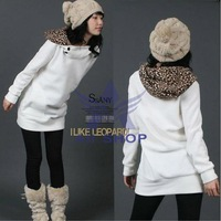2XL Plus Size Coats Autumn Womens Autumn Sweatshirts Hoodies 2013 Leopard Top Outerwear Parka Coats White Black  L XXL Hot  3283