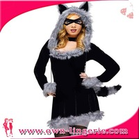 long sleeves mini dress with grey faux fur costume wholesales 2013 party carnival costumes
