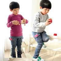 Free shipping boys velvet trousers knitted denim plus velvet pants