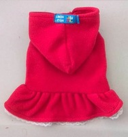 Holdhoney pet clothes dog clothes polar fleece fabric flower skirt red colors free shipping