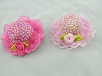 5.5cm 24pcs/lot  Diamond lace flowers Party  Mini Top Hat. baby Cute Hat for hair clip