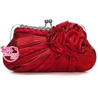 Satin rose shape special evening dress party bag bride handbag small messenger cosmetic mobile key chain s coin bag 2898
