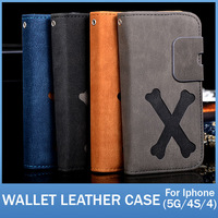 20pcs/lot Vintage Style Stand Function Case For Iphone 5 5S 4S Vintage PU Leather Flip cover with Credit Card Holder Hot Selling