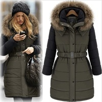 Free Shipping 2014 winter fashion long design plus fur collar hooded wadded dress cotton-padded jacket Q88 Free Shipping