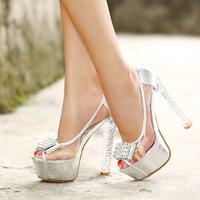 Fashion crystal with thick heel 14 ultra high heels platform sandals rhinestone open toe high-heeled sandals transparent