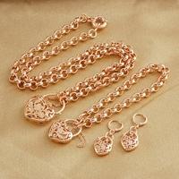 Filigree 18k Rose Gold Filled GF Heart Locket Belcher Necklace Bracelet Earrings Set Free shipping