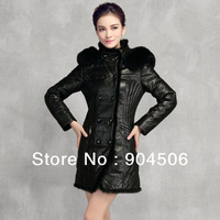 women sheep skin leather  long coat+ fox fur collar take off+ feather lining down outerwear + Fashion+Free Shipping!