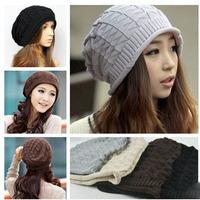 Christmas gift ! Hat winter women Autumn winter woolen hat Triangular plaid wool Sets of headgear Knitted warm hats for girls
