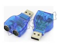 Free shipping USB to PS2 PS/2 Adapter Connector PC Mouse Keyboard blue china mainland