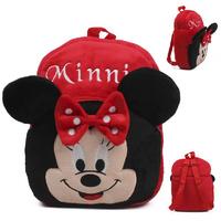 Cute child school bag for little boys girls age 5-6 kindergarten school red cartoon mouse plush fabric shoulder bag L backpack