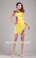 Runway Fashion Wholesale & Retail 2013 style fashion new round neck short sleeve yellow color Slim Dress KC217 Free shipping