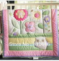 Lovely Bird Owlet Pink Flowers Girl Baby Quilt  Nursery Comforter for Baby Cot Crib Bedding