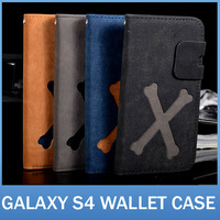 20pcs/lot GalaxyS4 I9500 Bone Pattern With Folio Stand Case For Sumsung 9500 Retro PU Leather Flip cover with Credit Card Holder