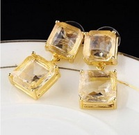 Latest Jewelry Luxury imitation crystal Geometric cube gold earrings free shipping 5pair/lot