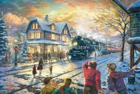 Thomas Kinkade Original landscape oil painting ( All Aboard for Christmas ) print reproduction on canvas art decor Free shipping