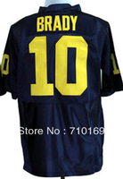 Free Shipping Michigan Wolverines Tom Brady 10 Navy Blue College Football Jersey mix order