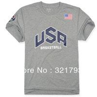 FREE SHIPING,Summer Durant short-sleeve cotton o-neck T-shirt USA american basketball team sports t-shirt