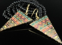 2013 New Free Shipping Women's Graceful Color Block Triangle Shaped Earrings YW13033111