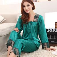 Spring and autumn faux silk plus size sexy silk sleepwear female set lace long-sleeve silk lounge