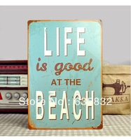 20*30CM LIFE is good AT THE BEACH Vintage Sign Wall Decor Metal Plaques Retro Tin Decorative Painting
