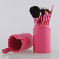 Drop shipping New red Professional Makeup Brush Set 12 pcs Kit w/ Leather Cup Holder Case ki