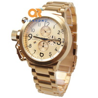 New fashion big dial gold calendar unique Design Stainless steel man's Business quartz watches insurance clasp sport pilot watch
