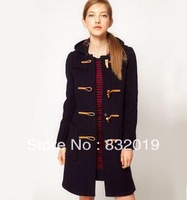 women's fashion vintage Winter Woolen coat Trench clothing jackets long Hoodies coats woman hom button clothes S M L black