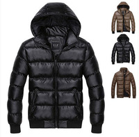 Promotion Men Men's Cotton Padded Coat top grade Down Parka Warm PU Leather Jacket Winter Overcoat FREE SHIPPING