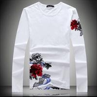 2013 male long-sleeve T-shirt rhinestones male shirt chinese style male t-shirt t shirt