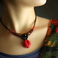 For nec  klace piscean red carved lacquer necklace wedding gift chinese style festive Women